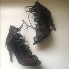 Wanted Black Lace Up Heels Size 8