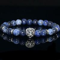 Fashion Men Natural Blue Sodalite Stone Silver Lion Head Beaded Charm Bracelet