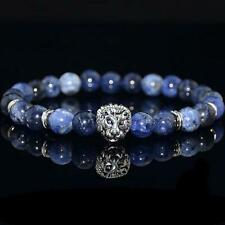 Fashion Men's Blue Sodalite Stone Silver Lion Head Beaded Yogo Stretch Bracelet
