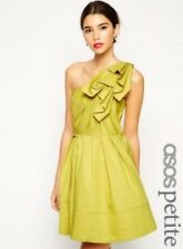 Asos origami one shoulder yellow petite women dress size 10 New