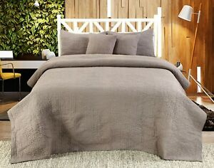 Handmade Cotton Quilted Bedspread Set Quilt Bed Set Harvard Grey