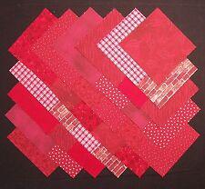 "DEEP RED PRINTS 5"" Squares 100% cotton Prewashed Calico Quilting Fabric (#B/28C)"