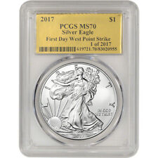 2017 American Silver Eagle - PCGS MS70 - First Day WP Strike Gold Foil 1 of 2017
