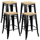 Set of 4 Metal Counter Bar Stools Pub Industrial 26