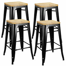 "Set of 4 Metal Counter Bar Stools Pub Industrial 26"" Height w/ Wood Seat 330Lb"