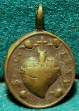 SACRED HEART JESUS / OUR LADY OF THE PILLAR  Antiq 17th Cent 25x36mm BRASS MEDAL