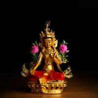 14cm Tibet Buddhism Resin Gild Colour Kwan-yin Guan Yin Tara Goddess Statue