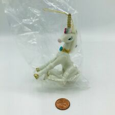 "Vintage 1982 Kurt Adler Hand Painted Wood Unicorn Ornament Gold Horn 4"" Pride"