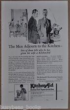 1928 KitchenAid advertisement, KITCHEN AID food mixer, men smoking in kitchen