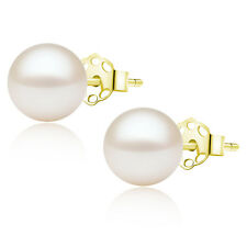 7-8mm Genuine AAA Freshwater White Pearl Earrings 14k Solid Yellow Gold Studs