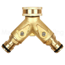 "DOUBLE DUAL OUTSIDE TAP CONNECTOR 1/2"" 3/4"" BRASS QUICK FIX METAL HOSE GREEN JEM"