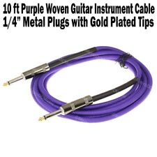 "10 ft Purple Woven Guitar Instrument Cable Cord Effect Patch Gold Tip 1/4"" Plugs"