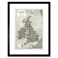 Map Antique 1884 Price Lighthouses Lightships British Isle Framed Print 12x16""