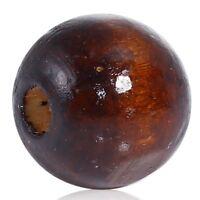 100 Kiefer Holzperlen Perlen Schnullerketten Basteln 20mm Holzkugeln Loch Holz