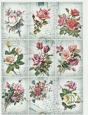 A/4 Scrapbook Paper Gift & Hang Single Sheet 12 Tags Postcards Roses