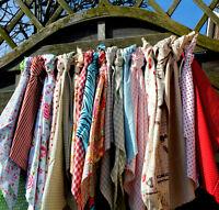 16 Large Fabric Remnants Cotton&Linen Vintage Retro Shabby Chic Mixed Bundle