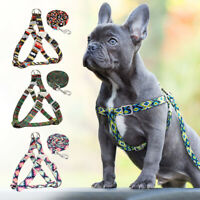 Nylon Step-in Dog Collar Harness with Leash Printing Adjustable Dog Strap Vest