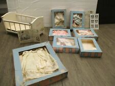"""Vintage 8"""" Vogue Ginnette 1958 Original Ginny Baby Sister Doll clothes Crib lot"""