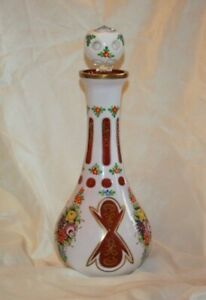 Czech Bohemian Cranberry Cased to White Glass Large DECANTER & Stopper LOT 4357