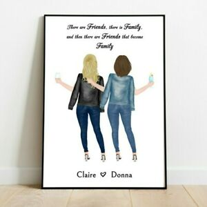Personalised Best Friends, Sisters Picture Print Keepsake Friendship Quote Gift