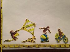 3 pc Curious George Kite Ball Bike Fabric Applique Iron On Ons