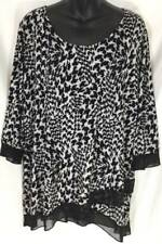 Suzie in the City Woman Plus Blouse Animal 3/4 Sleeve Scoop Neck New 3583