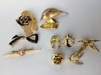 LOT 5 BROCHES 5 PINS FANTAISIES 1950 BALLOU REG D RISIS PLAQUÉ OR LAMINE E319