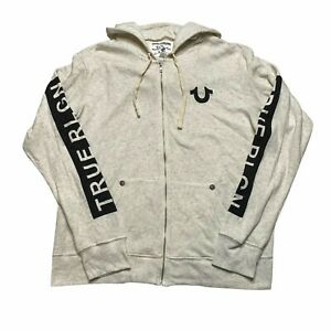 True Religion Buddha Logo Zip Basic Hoodie Sweatshirt In Oatmeal Mens XXL