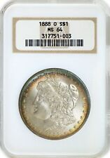 1888 O $1 Morgan Silver Dollar NGC MS64 Toned Uncirculated Coin Old Fat Holder