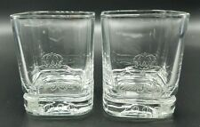 Crown Royal Glass 2000 Lowball Rocks Tumbler Bar Heavy Square Set of 2