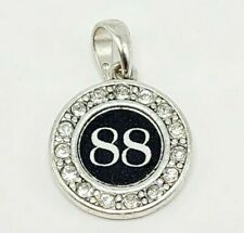Number 88 Rhinestones Silver Charm