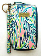 Lilly Pulitzer Pink Blue Cell Phone Wallet Wristlet Zip Around Clutch Coin Purse