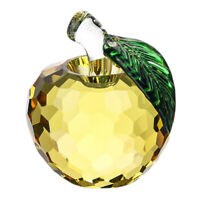 Yellow Glaze Crystal Apples Paperweight Crafts Decoration