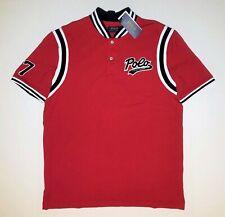 $110 MEN'S RALPH LAUREN BASEBALL JERSEY FELT POLO SCRIPT SHIRT RED DARK NAVY XL