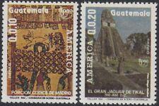 Upaep Guatemala 829/30 1989 Manuscrito Tikal MNH