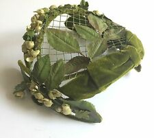 Mid Centruy Olive Green Velvet Hat with Netting. It has Lily of the Valley accen