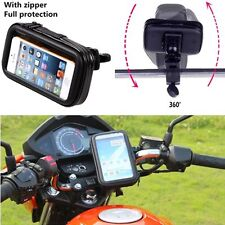 "Motorcycle Bicycle Handlebar Holder Mount + Waterproof Bag Case 5.5"" Cell Phone"