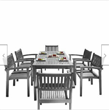 Havenside Home Surfside 7 Piece Wood Outdoor Dining Set Stackable Chairs Gray