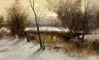 Large Oil painting woman in winter landscape with firewood canvas