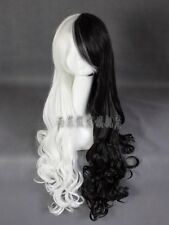 Cruella Deville Cosplay Wig Mix Black White  Long Curly Full Hair Costume Party