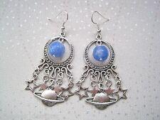 GALAXY MOON PLANET & STARS Blue Agate Gemstone Celestial Chandelier SP Earrings