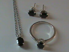 Black Spinel Ring Size 6.25, Earrings & Pendant Set in Sterling Silver