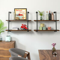 2Pcs Industrial Wall Mounted Iron Pipe Shelf Bracket Floating bOOK Shelf Holder