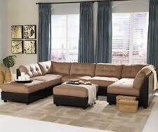 Claude Contemporary U Shaped Two Tone Tan/Brown Modular 8pc Sectional Sofa Couch