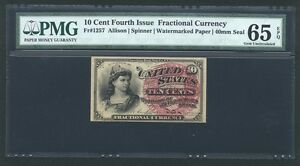 1869-75 10 CENTS FRACTIONAL CURRENCY FR1257 CERTIFIED PMG GEM UNCIRCULATED 65EPQ