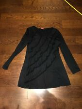 V Christina Long Sleeve Ruffle Top Black Size L