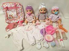 Triplets Baby Alive Dolls Anatomical Wet n  Wiggle BOY Girls 37 Piece LOT WORKS