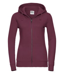 266F Russell Authentic Zip Hooded Sweatshirt Burgundy