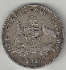 AUSTRALIA, 1914-H, FLORIN, SILVER, KM#27, FINE-VERY fine, Scarce Date