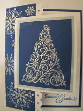 Snow Swirled Christmas Tree Seasons Greetings Handmade Card Kit w/Stampin Up 4